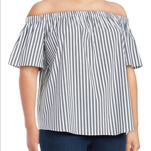 Vince Camuto gray striped off the shoulder top